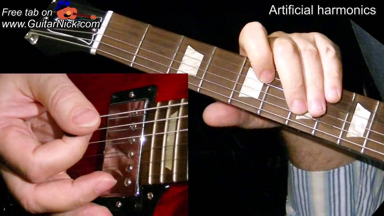 Artificial Harmonics Guitar Lesson Tab Learn How To