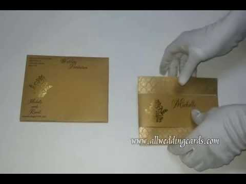 W-4415, 250GSM,  Shimmer Rust Gold, indian Cards, Exclusive Wedding Ca