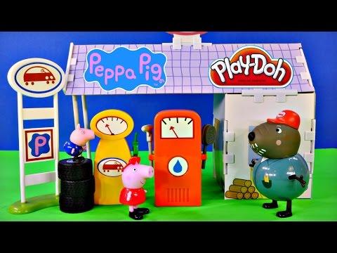 Peppa Pig 12 Piece Buildable Grandad Dogs Garage Playset Play Doh Peppapig Car Wash