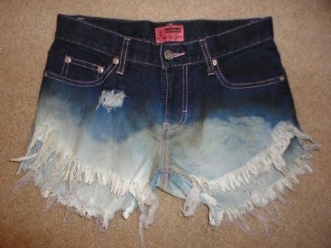 DIY Bleached Distressed Denim Shorts