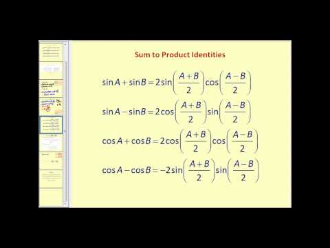 Sum to Product and Product to Sum Identities