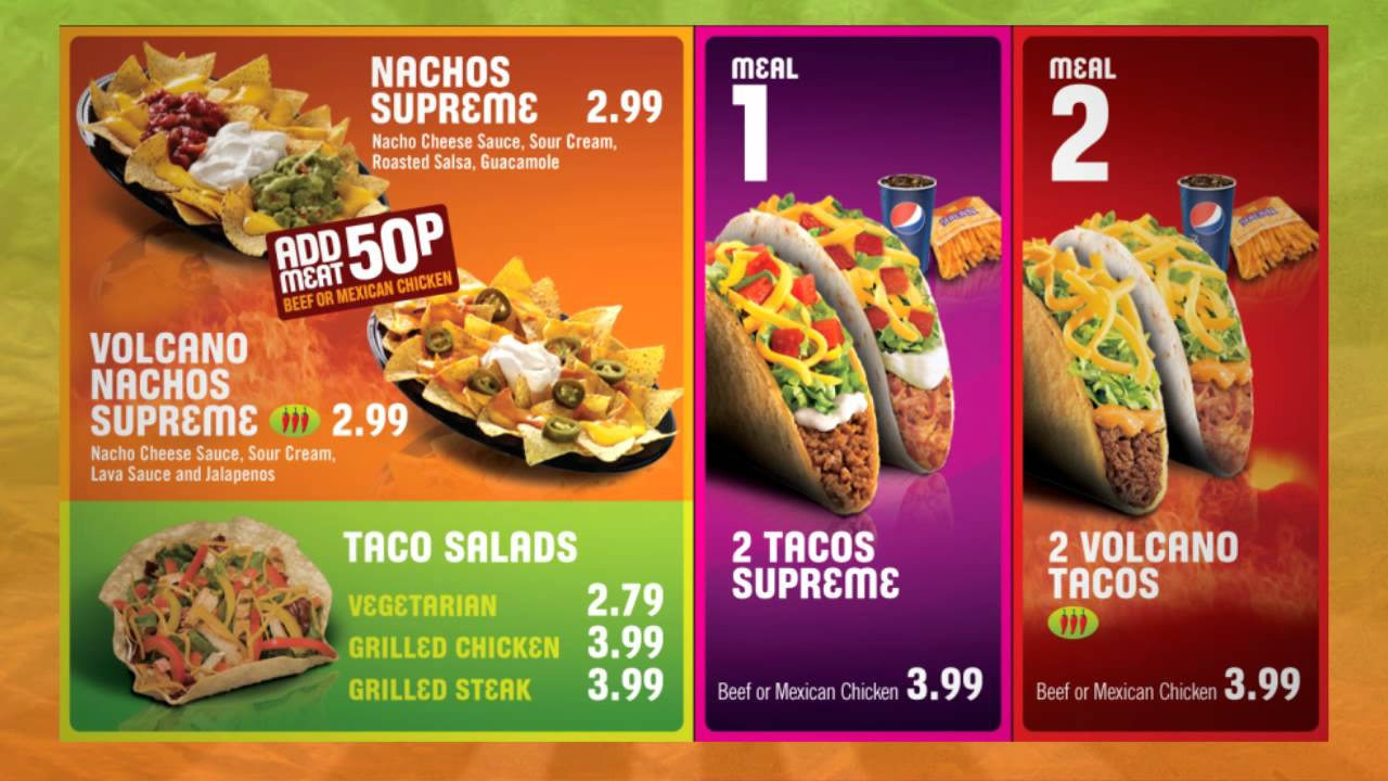 Taco Bell Combo Menu Prices Menu Taco Bell Drive Thru Menu
