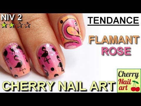 Nail art dégradé et flamant rose