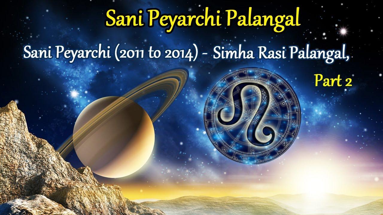 Sani Peyarchi Palangal: Sani Peyarchi (2011 to 2014) - Simha Rasi