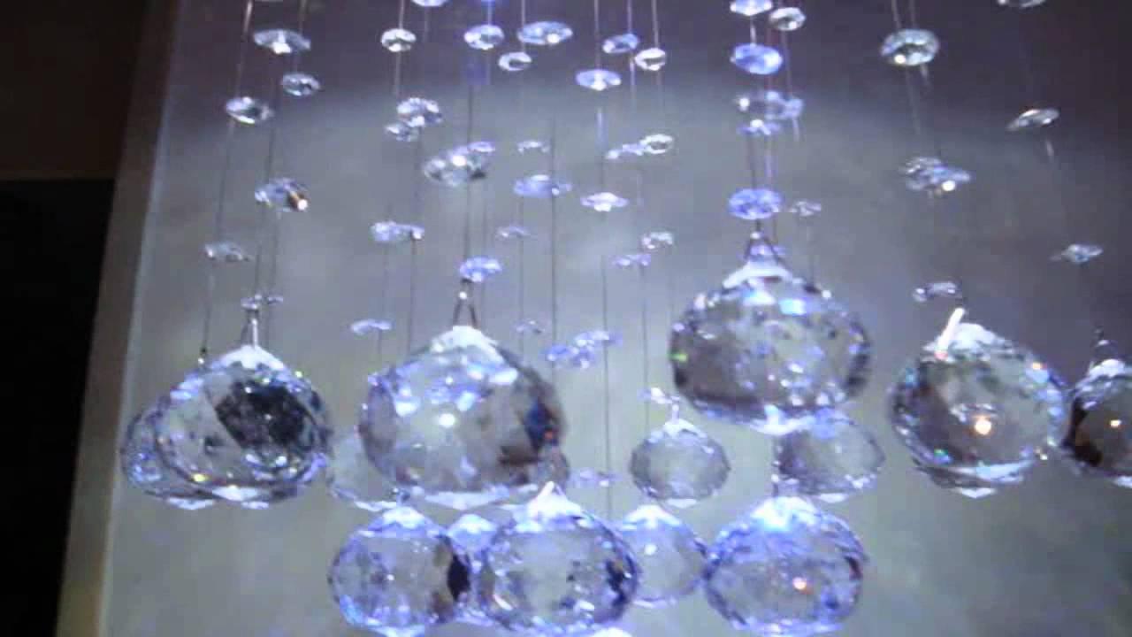 Lustre de cristal importado com luz led controle remoto youtube - Lustre pampilles cristal ...