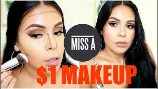 FULL FACE USING $1 MAKEUP + BRUSHES!? HIT OR MISS | JuicyJas