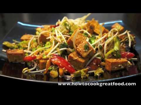 Stir fry tofu & vegetables vegan sesame seeds garlic ginger how to cook great food recipe