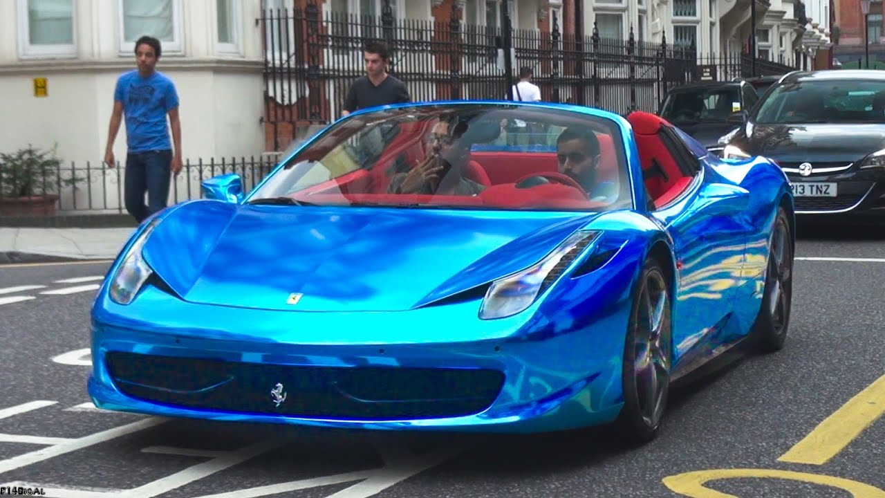 chrome blue ferrari 458 spider youtube