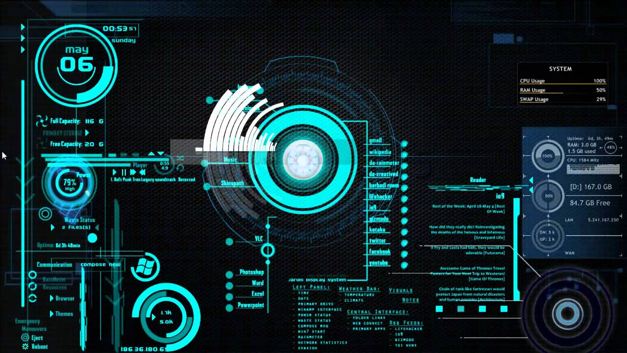 rainmeter+Theme... J.a.r.v.i.s Software