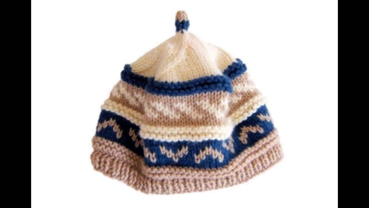 How to knit fair isle pattern beanie cap hat with needles - YouTube