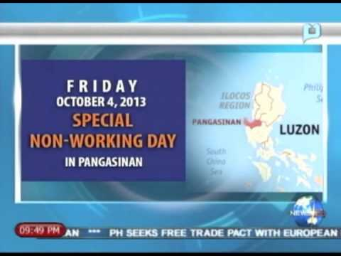 NewsLife: President Aquino declares Oct. 4 as holiday in Pangasinan || Sept. 30, 2013