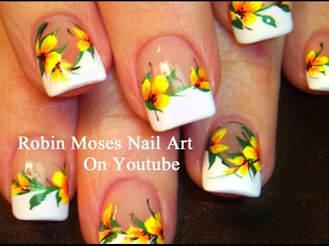 Summer Yellow Flower Nail Art