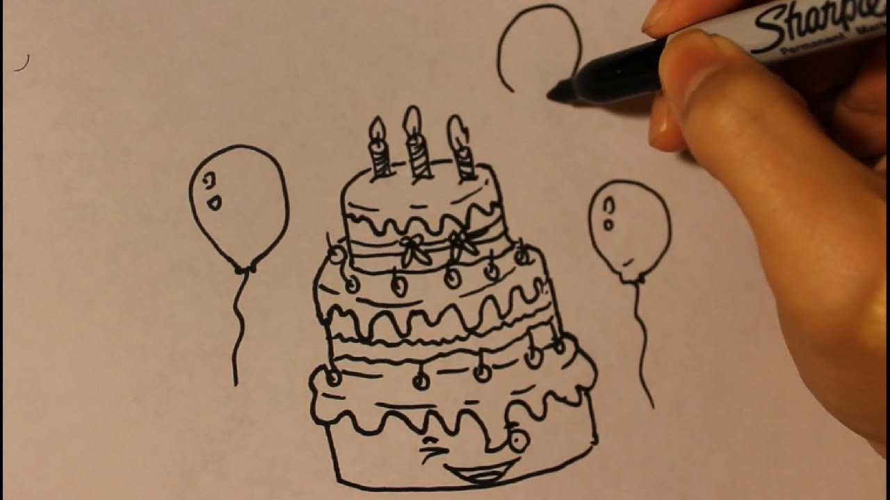 How To Draw Cake Images : How to draw Cartoon Birthday Cake Step By Step Easy ...