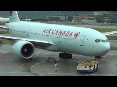 Boeing 777 Air Canada. Pushback and Taxi, Hong Kong International Airport, Chek Lap Kok