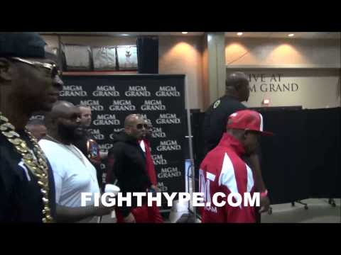 RICK ROSS AND 2 CHAINZ ESCORT FLOYD MAYWEATHER TO WEIGH-IN