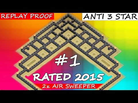 Clash Of Clans | BEST TH9 WAR BASE OF 2015 WITH REPLAY PROOF! 2x AIR SWEEPER + ANTI 3 STAR