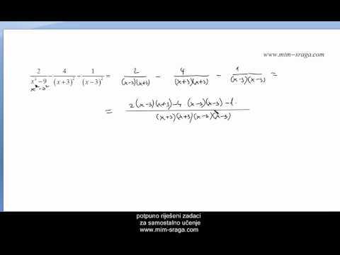 Algebarski razlomci zbrajanje i oduzimanje , Matematika 1 za prvi razred srednje škole