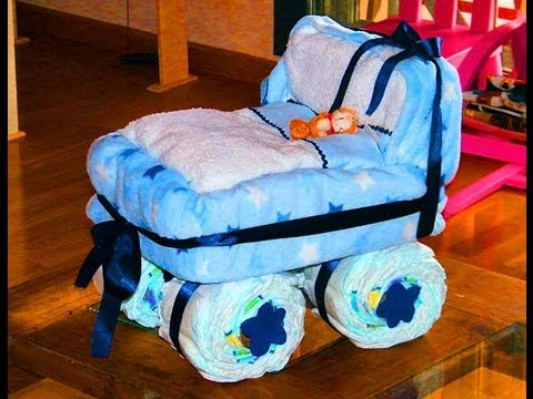 Coche de pañales para baby shower paso a paso - Imagui