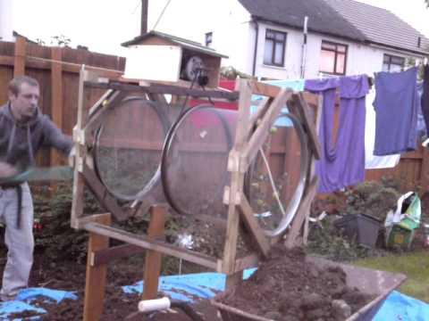 homemade rotary soil sieve  trommel - YouTube