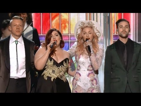 Grammy Rehearsal: Macklemore & Ryan Lewis, Madonna, Mary Lambert - Same Love, Open Your Heart