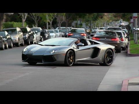 Lamborghini Aventador Roadster driving in Beverly Hills!