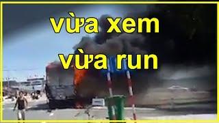 Cảnh báo || Yếu tim không nên xem: Nghẹt thở xem tài xế điều khiển xe tải bốc cháy ngùn ngụt