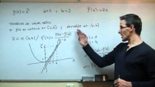 Teorema de valor medio. 2º Bachillerato