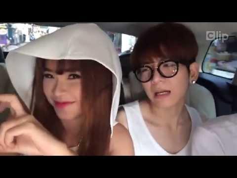 Khởi My và Kelvin Khánh đùa giỡn trên xe