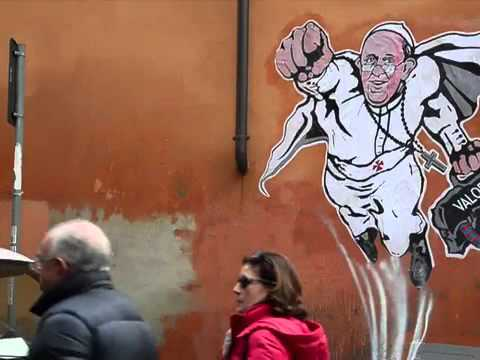 Pope Francis to the Rescue in Rome Graffiti