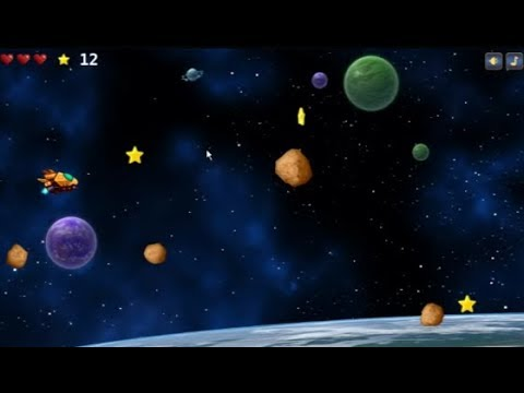 Funny flight spaceship collecting game score 21
