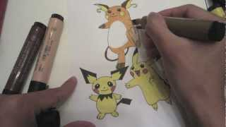 How To Draw Pokemon: No.172 Pichu, No.25 Pikachu, No.26