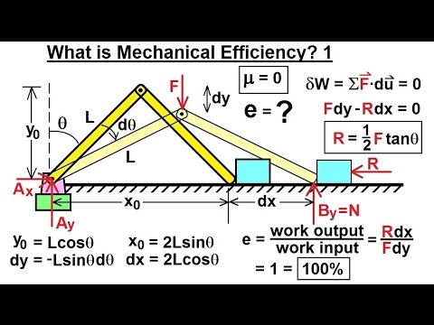 Mechanical Engineering: Ch 13: Virtual Work Applications (8 of 39) What is Mechanical Efficiency? 1