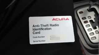 How To Reset Acura Anti Theft Radio & Retrieve Serial