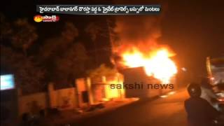 Private Travels Bus Catches Fire in Hyderabad-Visuals