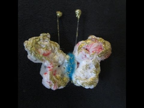 Mini mariposa tejida con bolsas plásticas, Tiny crochet butterfly, borboleta