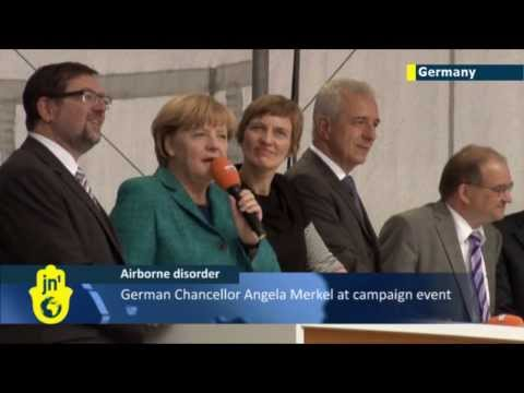 Drone lands two meters in front of Chancellor Merkel
