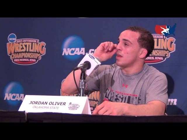 Jordan Oliver (Oklahoma State) after NCAA finals win at 149 lbs