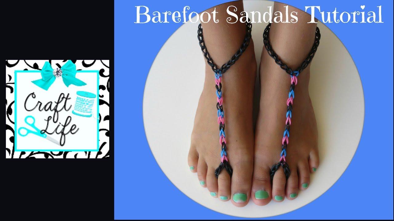Craft Life Rainbow Loom Barefoot Sandals Tutorial Youtube