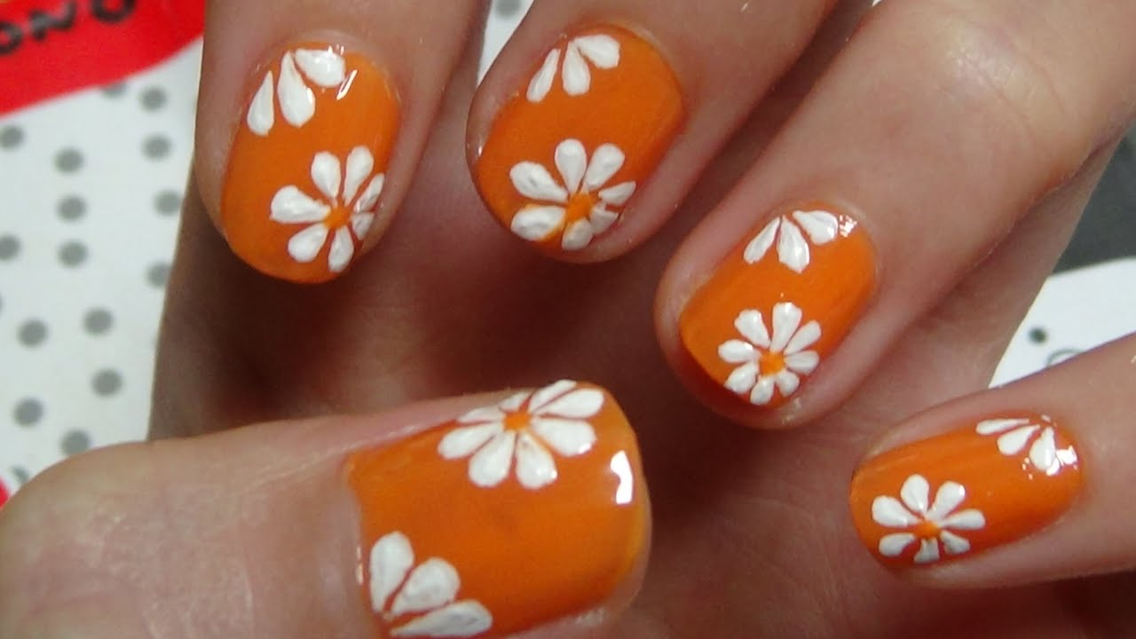 Easy Nails Art Design Using A Toothpick - Simple Flower Nail Art for