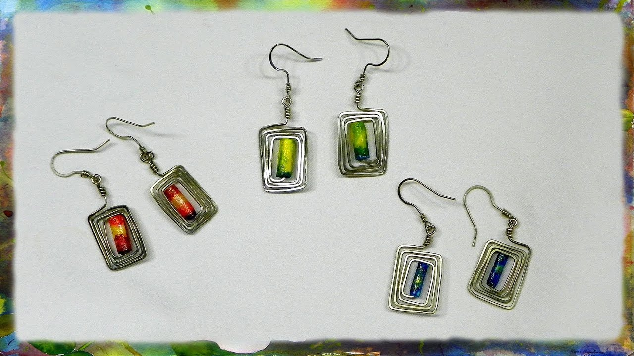 How to construct rectangular earrings with rice paper for Step by step wire jewelry subscription