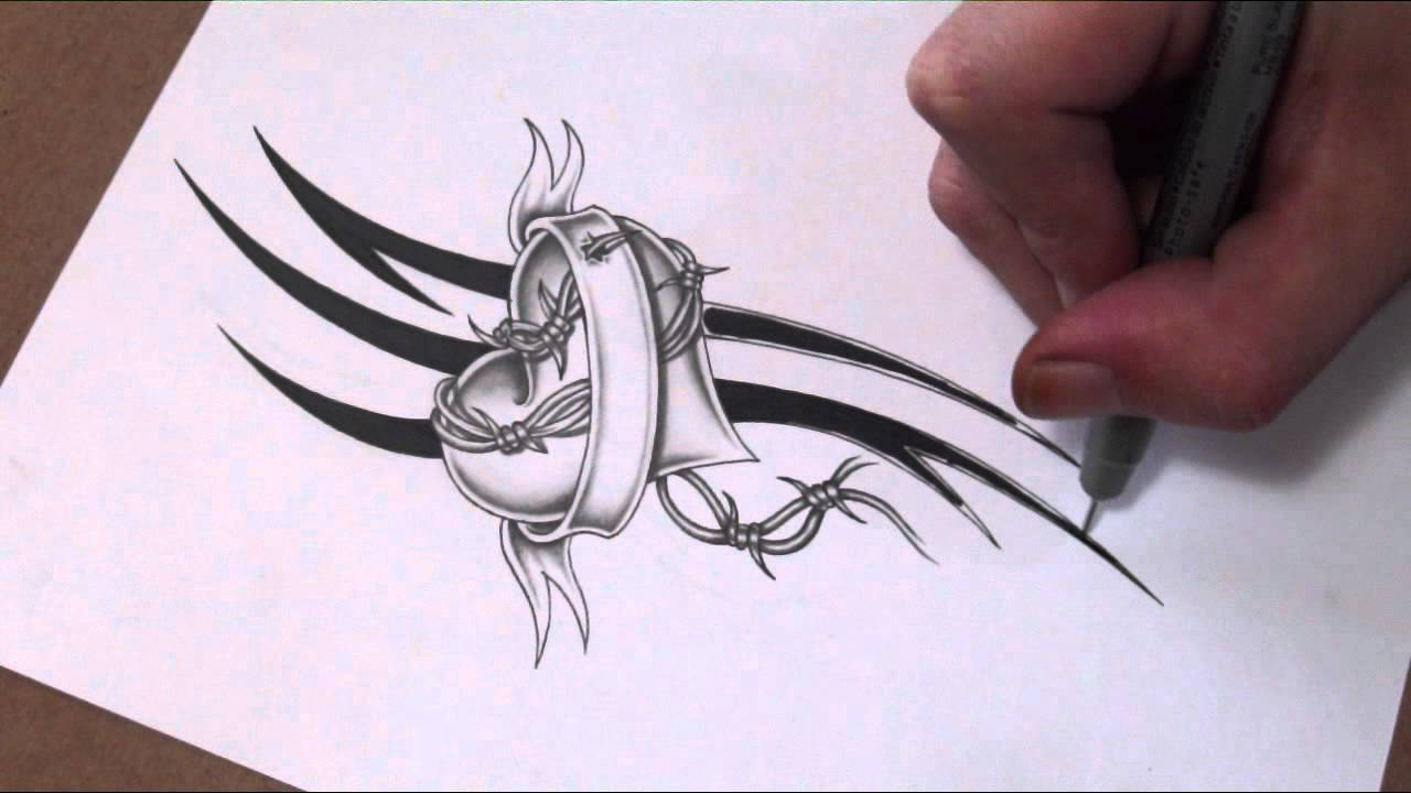 shading a heart and banner with barbed wire tattoo design youtube. Black Bedroom Furniture Sets. Home Design Ideas