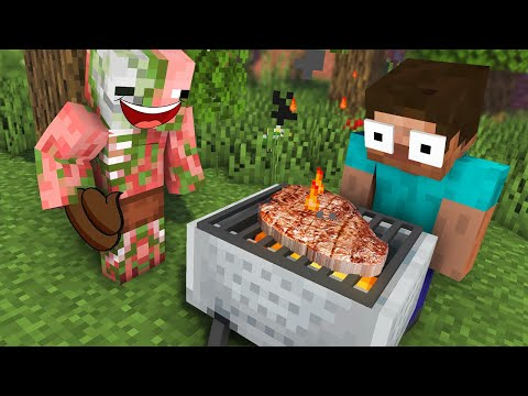 Monster School : BARBECUE COOKING Challenge - Minecraft Animation