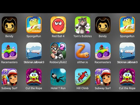 Bendy,Sponge Run,Red Ball 4,Tom's Bubbles,Racemasters,Stickman Jailbreak 9,Robbery Bob 2,Slither.io