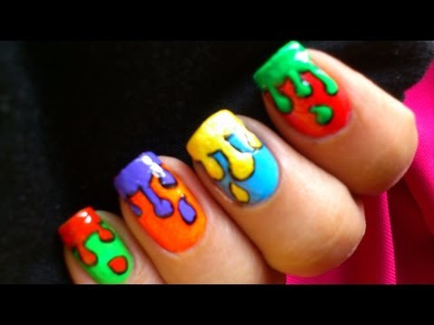 Dripping paint nail art design colorful tutorial nail polish dripping paint nail art design colorful tutorial nail polish designs kids video pop nail at solutioingenieria Choice Image
