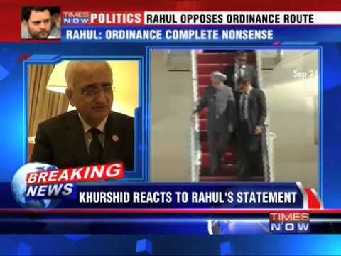 Salman Khurshid reacts to Rahul's statement