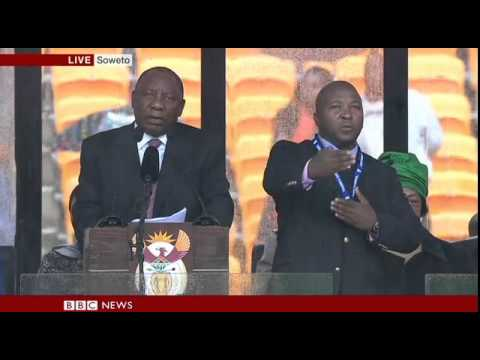 Fake Interpreter at Nelson Mandela Service
