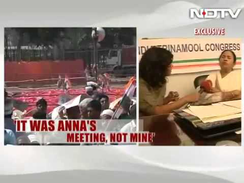 Not bitter about Anna's absence  Mamata Banerjee to NDTV