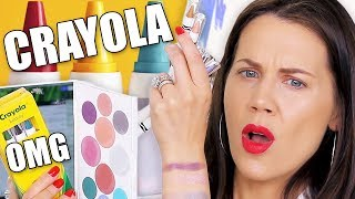 CRAYOLA CRAYONS MAKEUP TESTED ... OMG