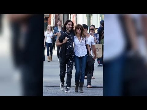 Russell Brand Cuddles Jemima Khan on a Stroll in New York City - Splash News
