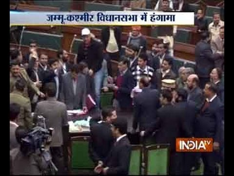 PDP MLAs wrestle with Marshals inside J&K assembly